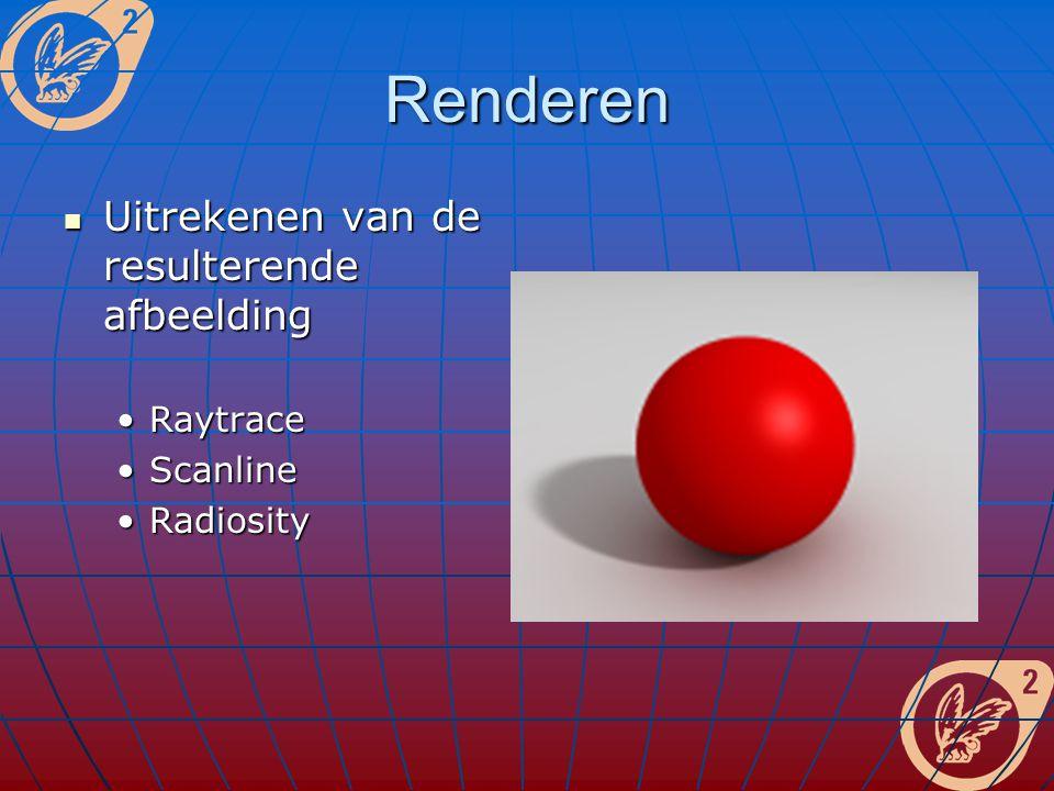 Renderen Uitrekenen van de resulterende afbeelding Uitrekenen van de resulterende afbeelding RaytraceRaytrace ScanlineScanline RadiosityRadiosity
