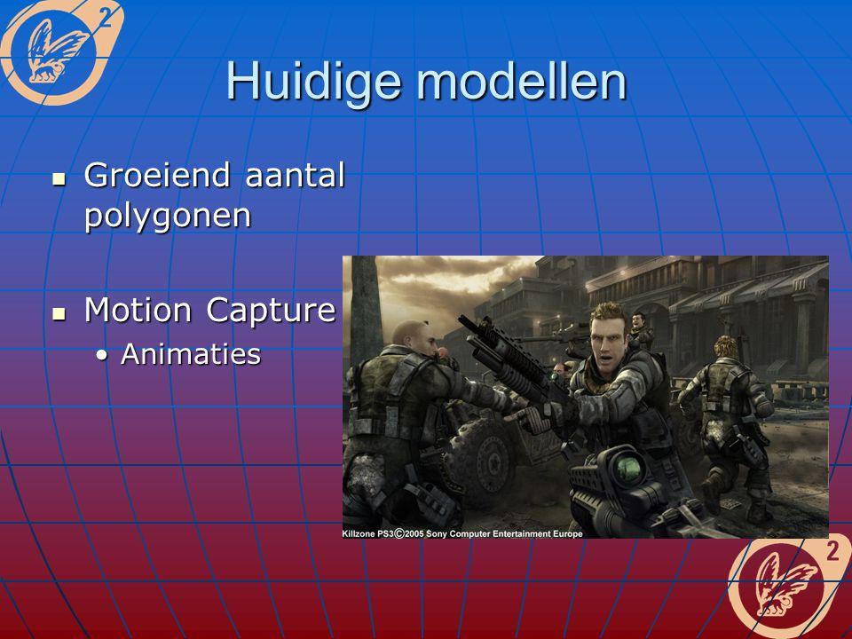Huidige modellen Groeiend aantal polygonen Groeiend aantal polygonen Motion Capture Motion Capture AnimatiesAnimaties