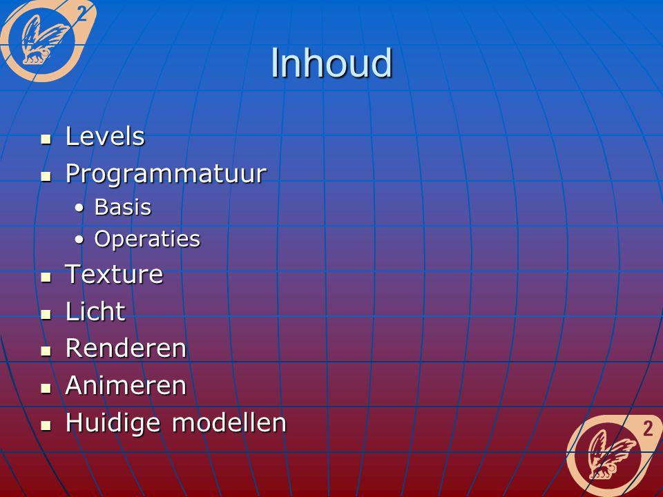 Inhoud Levels Levels Programmatuur Programmatuur BasisBasis OperatiesOperaties Texture Texture Licht Licht Renderen Renderen Animeren Animeren Huidige modellen Huidige modellen