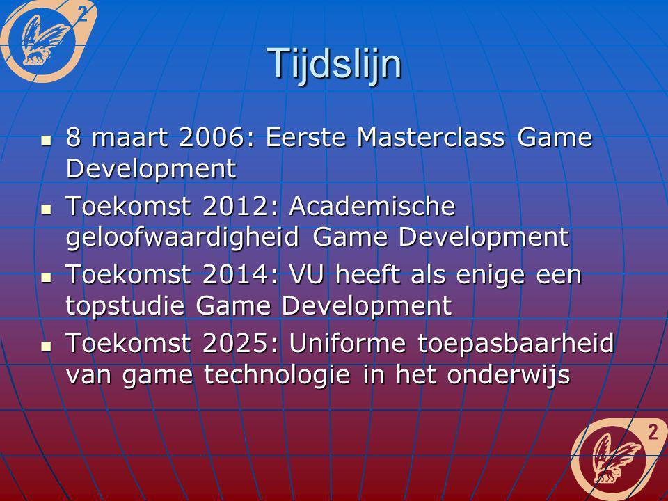 Tijdslijn 8 maart 2006: Eerste Masterclass Game Development 8 maart 2006: Eerste Masterclass Game Development Toekomst 2012: Academische geloofwaardig