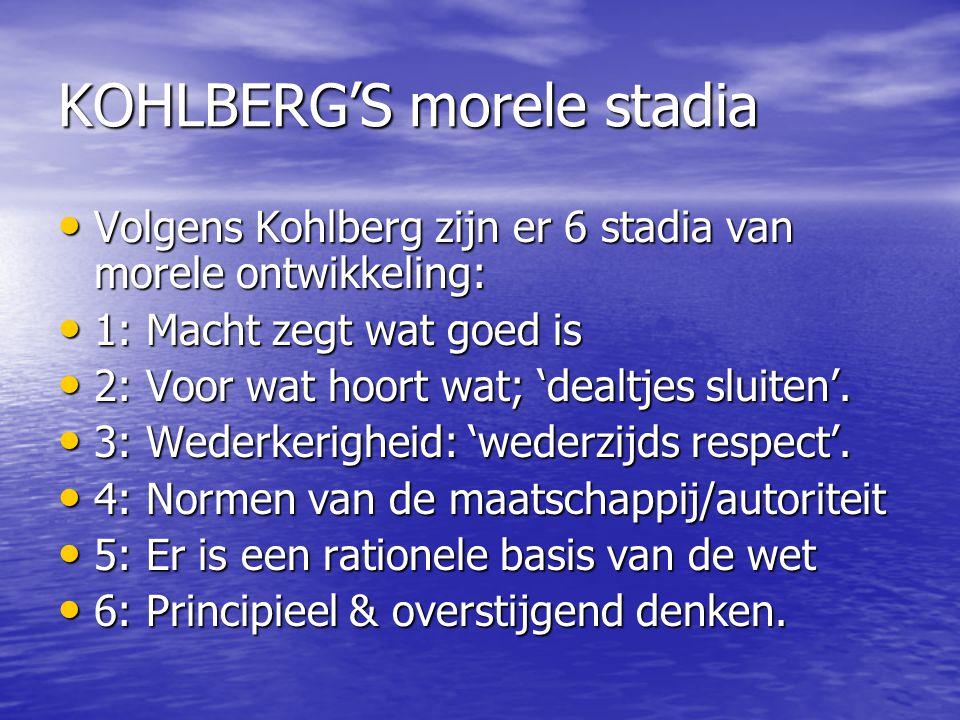KOHLBERG'S morele stadia Volgens Kohlberg zijn er 6 stadia van morele ontwikkeling: Volgens Kohlberg zijn er 6 stadia van morele ontwikkeling: 1: Mach