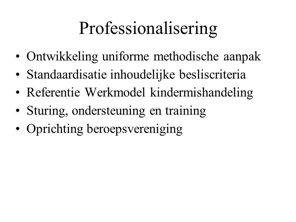 Professionalisering Ontwikkeling uniforme methodische aanpak Standaardisatie inhoudelijke besliscriteria Referentie Werkmodel kindermishandeling Sturing, ondersteuning en training Oprichting beroepsvereniging