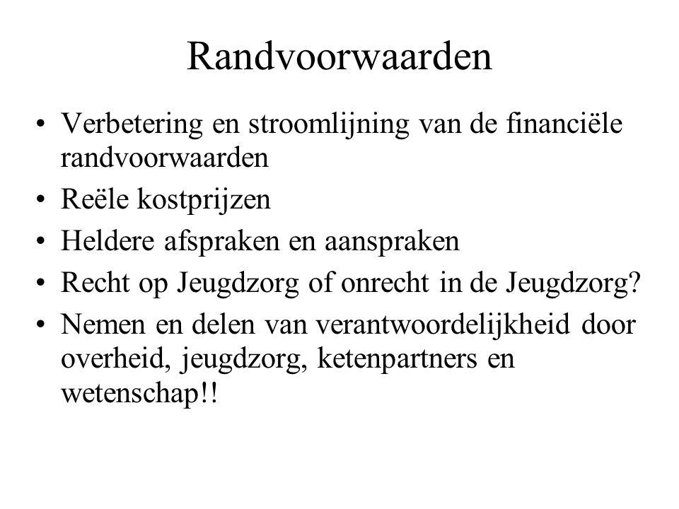 Randvoorwaarden Verbetering en stroomlijning van de financiële randvoorwaarden Reële kostprijzen Heldere afspraken en aanspraken Recht op Jeugdzorg of onrecht in de Jeugdzorg.