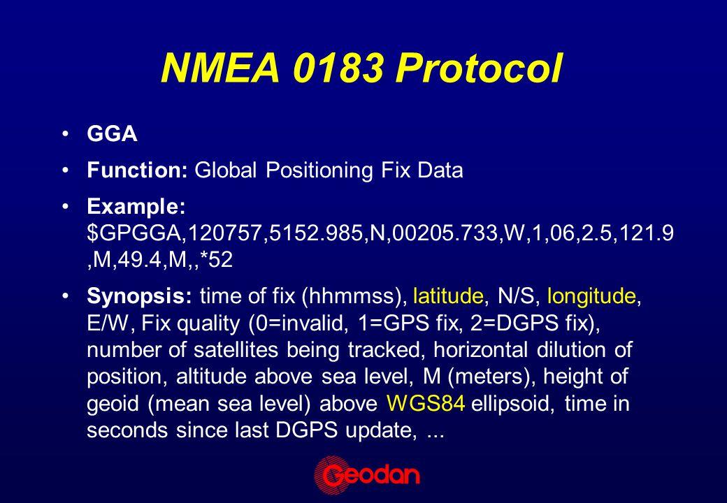 NMEA 0183 Protocol GGA Function: Global Positioning Fix Data Example: $GPGGA,120757,5152.985,N,00205.733,W,1,06,2.5,121.9,M,49.4,M,,*52 Synopsis: time