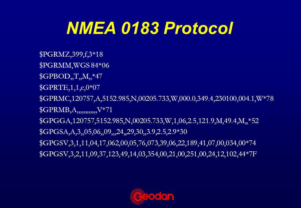 NMEA 0183 Protocol $PGRMZ,399,f,3*18 $PGRMM,WGS 84*06 $GPBOD,,T,,M,,*47 $GPRTE,1,1,c,0*07 $GPRMC,120757,A,5152.985,N,00205.733,W,000.0,349.4,230100,004.1,W*78 $GPRMB,A,,,,,,,,,,,,V*71 $GPGGA,120757,5152.985,N,00205.733,W,1,06,2.5,121.9,M,49.4,M,,*52 $GPGSA,A,3,,05,06,,09,,,24,,29,30,,3.9,2.5,2.9*30 $GPGSV,3,1,11,04,17,062,00,05,76,073,39,06,22,189,41,07,00,034,00*74 $GPGSV,3,2,11,09,37,123,49,14,03,354,00,21,00,251,00,24,12,102,44*7F