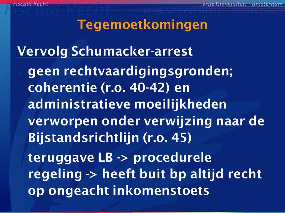 Tegemoetkomingen Vervolg Schumacker-arrest geen rechtvaardigingsgronden; coherentie (r.o. 40-42) en administratieve moeilijkheden verworpen onder verw