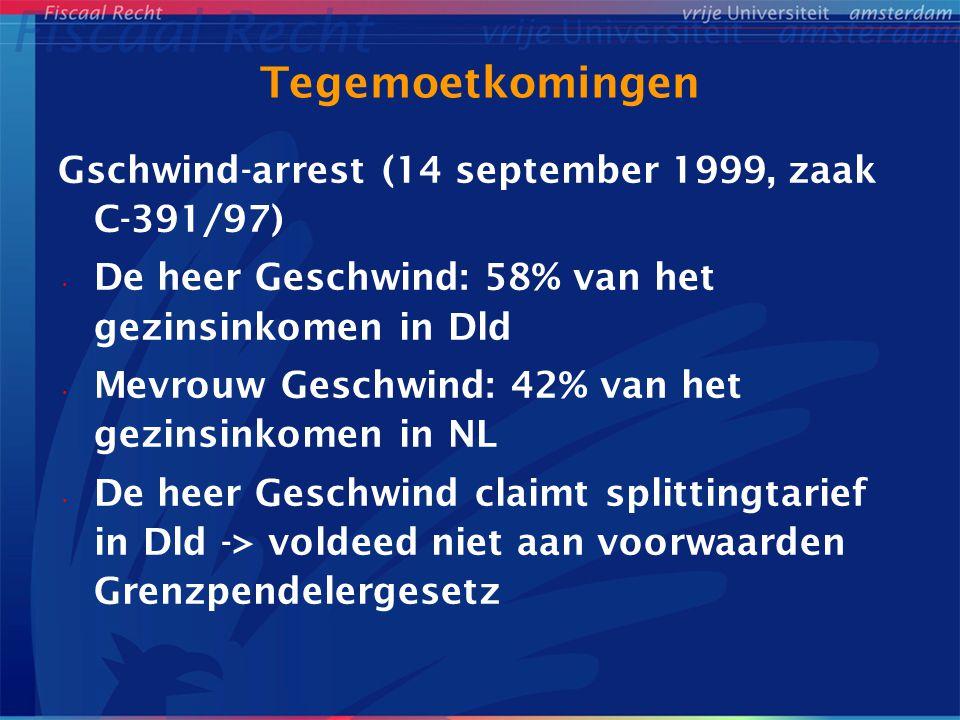 Tegemoetkomingen Gschwind-arrest (14 september 1999, zaak C-391/97) De heer Geschwind: 58% van het gezinsinkomen in Dld Mevrouw Geschwind: 42% van het
