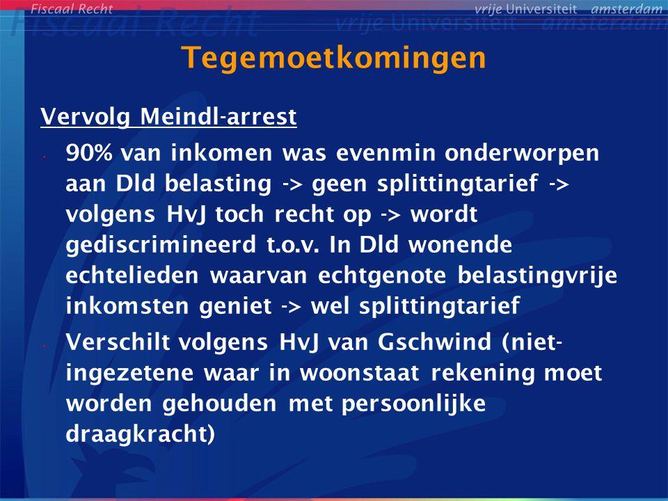 Tegemoetkomingen Vervolg Meindl-arrest 90% van inkomen was evenmin onderworpen aan Dld belasting -> geen splittingtarief -> volgens HvJ toch recht op