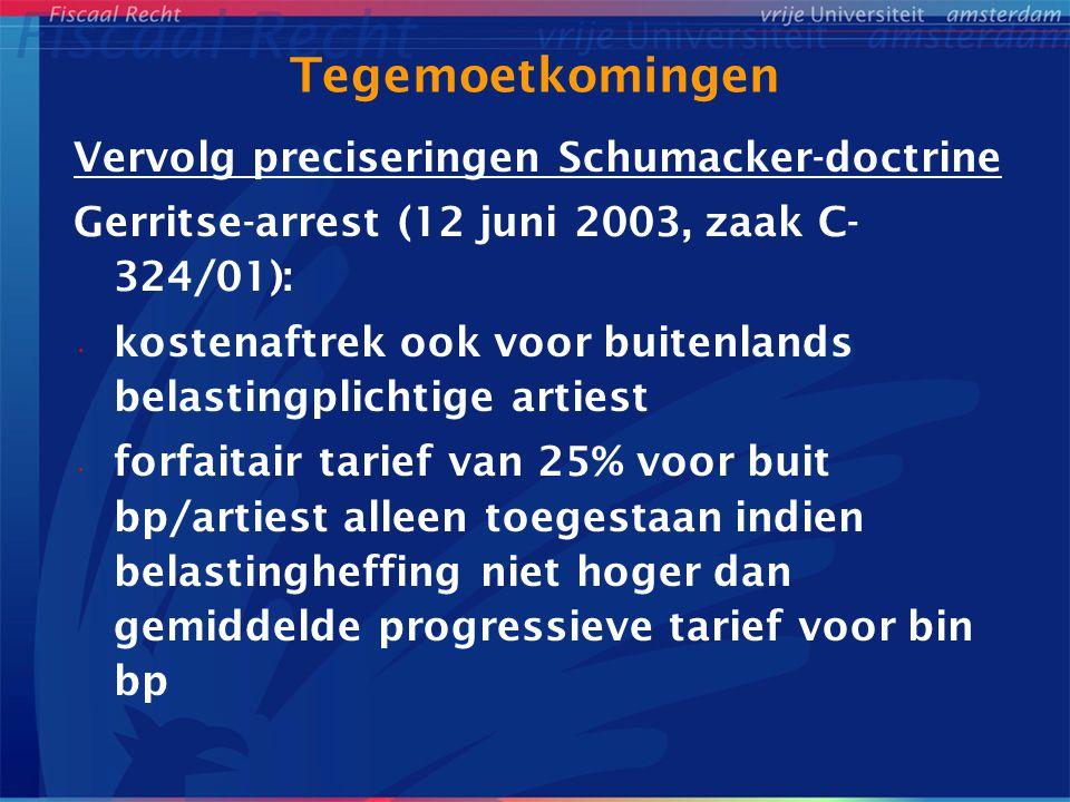 Tegemoetkomingen Vervolg preciseringen Schumacker-doctrine Gerritse-arrest (12 juni 2003, zaak C- 324/01): kostenaftrek ook voor buitenlands belasting