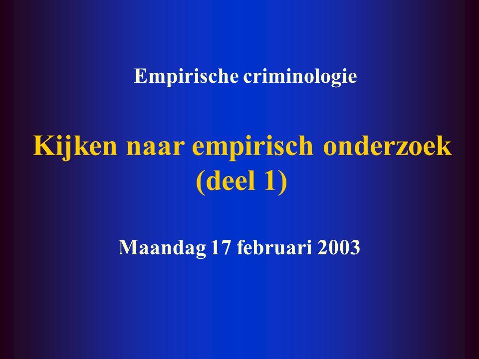 Kijken naar empirisch onderzoek (deel 1) Maandag 17 februari 2003 Empirische criminologie