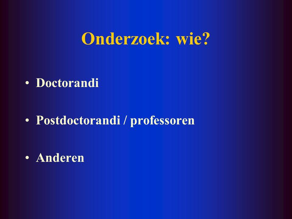 Onderzoek: wie? Doctorandi Postdoctorandi / professoren Anderen
