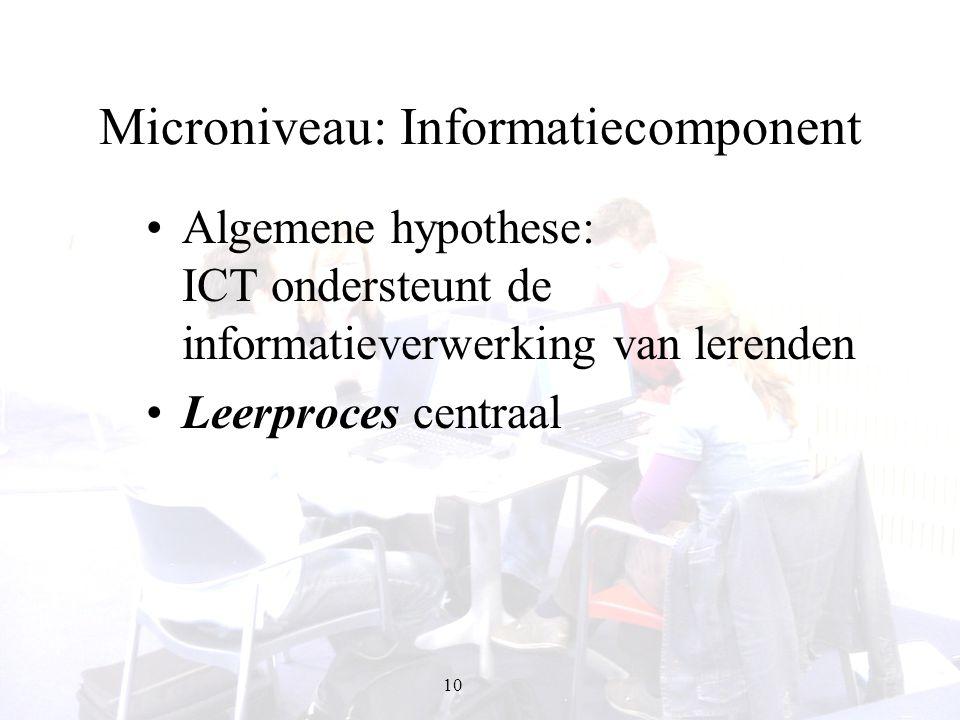 10 Microniveau: Informatiecomponent Algemene hypothese: ICT ondersteunt de informatieverwerking van lerenden Leerproces centraal
