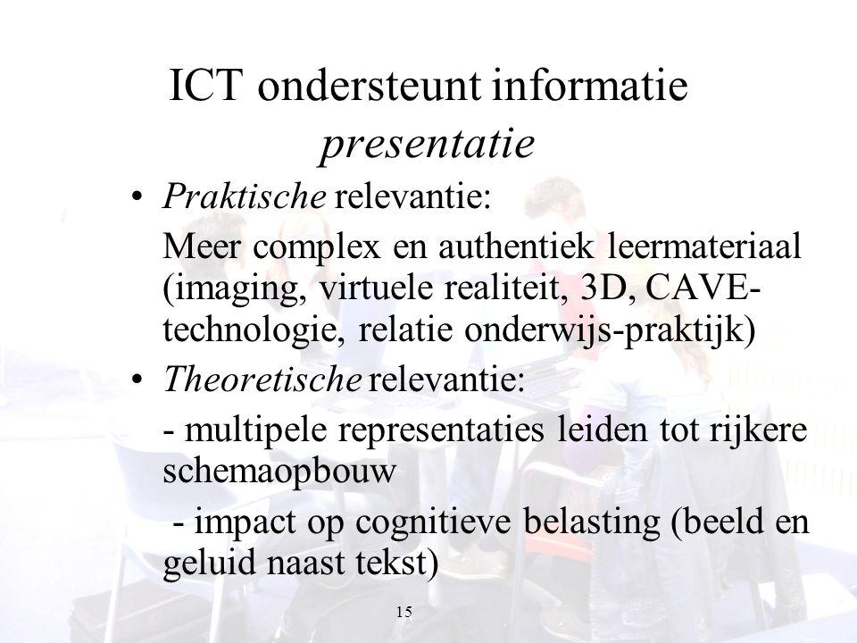 15 ICT ondersteunt informatie presentatie Praktische relevantie: Meer complex en authentiek leermateriaal (imaging, virtuele realiteit, 3D, CAVE- tech