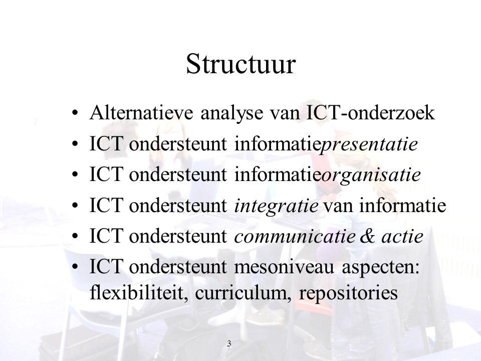 3 Structuur Alternatieve analyse van ICT-onderzoek ICT ondersteunt informatiepresentatie ICT ondersteunt informatieorganisatie ICT ondersteunt integra