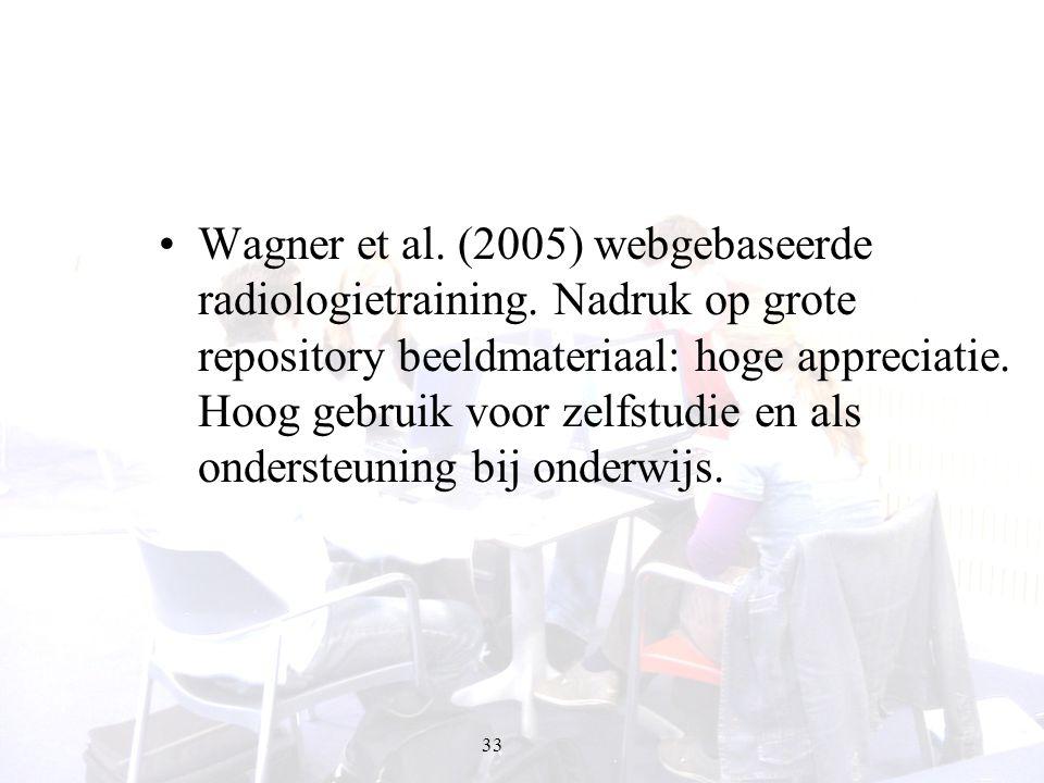 33 Wagner et al. (2005) webgebaseerde radiologietraining. Nadruk op grote repository beeldmateriaal: hoge appreciatie. Hoog gebruik voor zelfstudie en