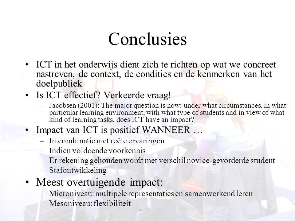 5 Meta-analyse: ICT & onderwijs Kulik (2003): impact van ICT niet duidelijk en tegenstrijdige resultaten van evaluatiestudies.