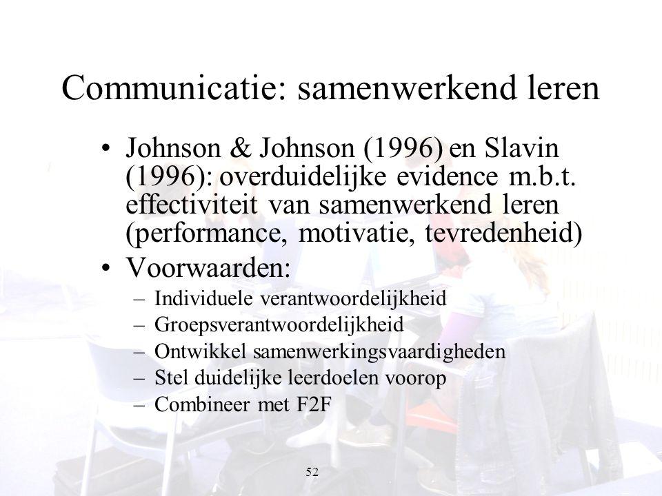 52 Communicatie: samenwerkend leren Johnson & Johnson (1996) en Slavin (1996): overduidelijke evidence m.b.t. effectiviteit van samenwerkend leren (pe