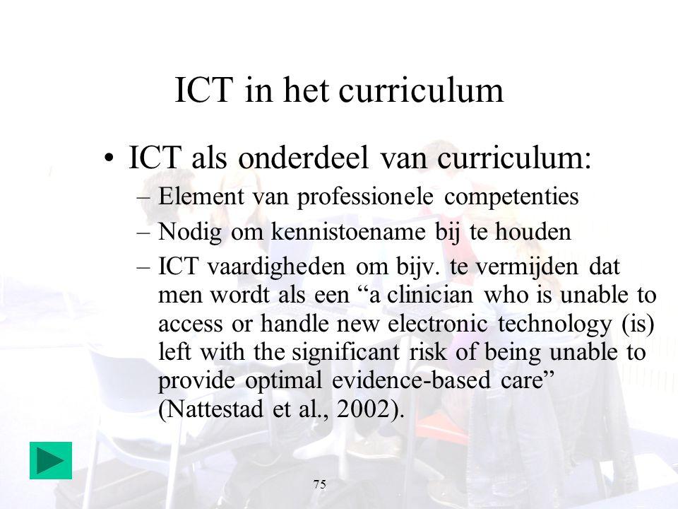 75 ICT in het curriculum ICT als onderdeel van curriculum: –Element van professionele competenties –Nodig om kennistoename bij te houden –ICT vaardigh