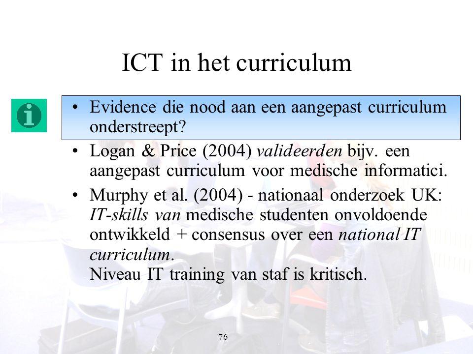 76 ICT in het curriculum Evidence die nood aan een aangepast curriculum onderstreept? Logan & Price (2004) valideerden bijv. een aangepast curriculum