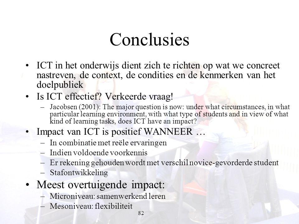 82 Conclusies ICT in het onderwijs dient zich te richten op wat we concreet nastreven, de context, de condities en de kenmerken van het doelpubliek Is