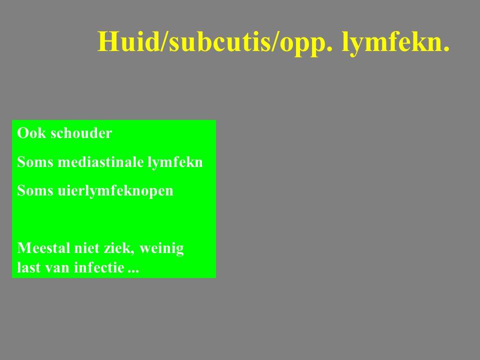 Huid/subcutis/opp. lymfekn. Ook schouder Soms mediastinale lymfekn Soms uierlymfeknopen Meestal niet ziek, weinig last van infectie...