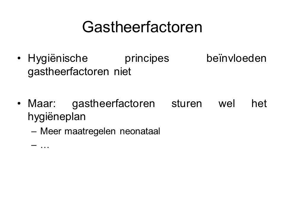 Gastheerfactoren Hygiënische principes beïnvloeden gastheerfactoren niet Maar: gastheerfactoren sturen wel het hygiëneplan –Meer maatregelen neonataal