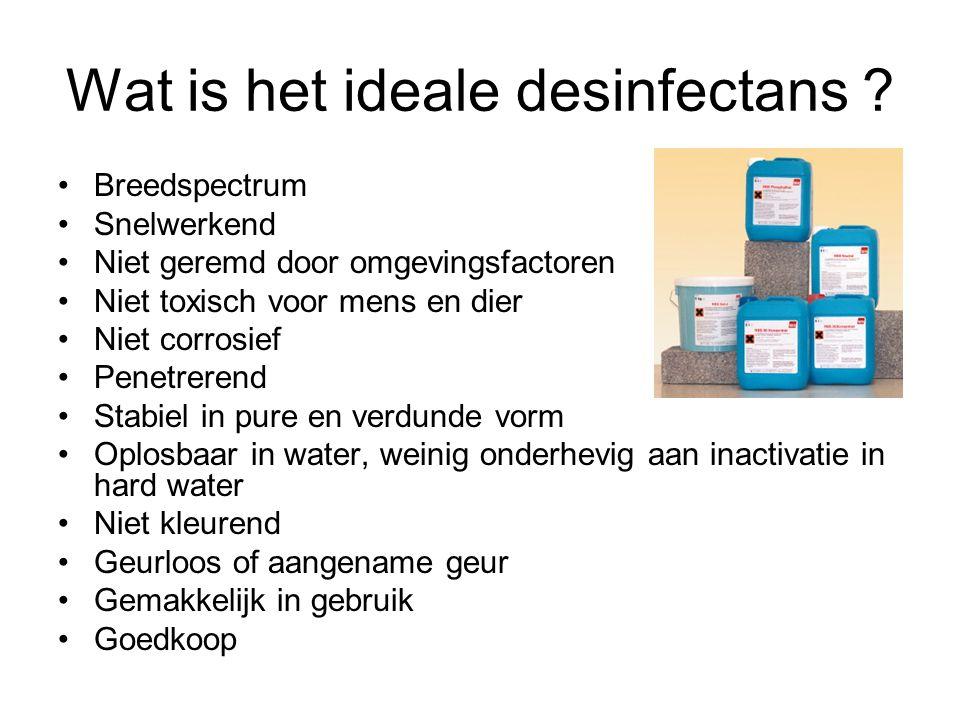 Wat is het ideale desinfectans ? Breedspectrum Snelwerkend Niet geremd door omgevingsfactoren Niet toxisch voor mens en dier Niet corrosief Penetreren
