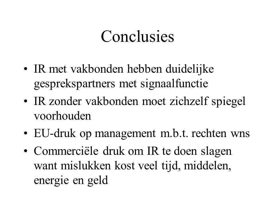 Conclusies IR met vakbonden hebben duidelijke gesprekspartners met signaalfunctie IR zonder vakbonden moet zichzelf spiegel voorhouden EU-druk op management m.b.t.
