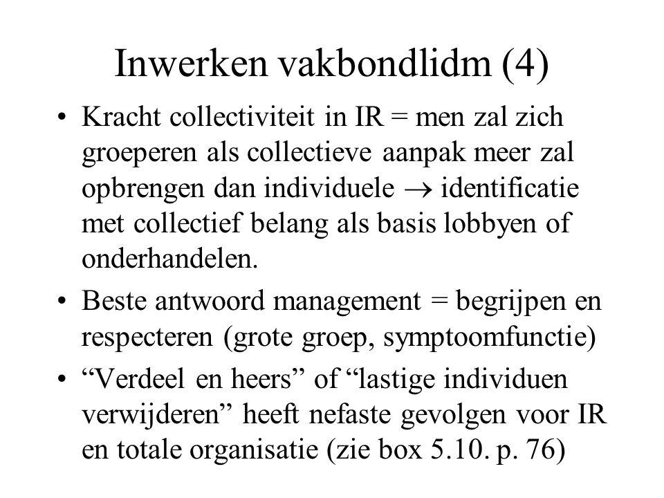 Inwerken vakbondlidm (4) Kracht collectiviteit in IR = men zal zich groeperen als collectieve aanpak meer zal opbrengen dan individuele  identificatie met collectief belang als basis lobbyen of onderhandelen.