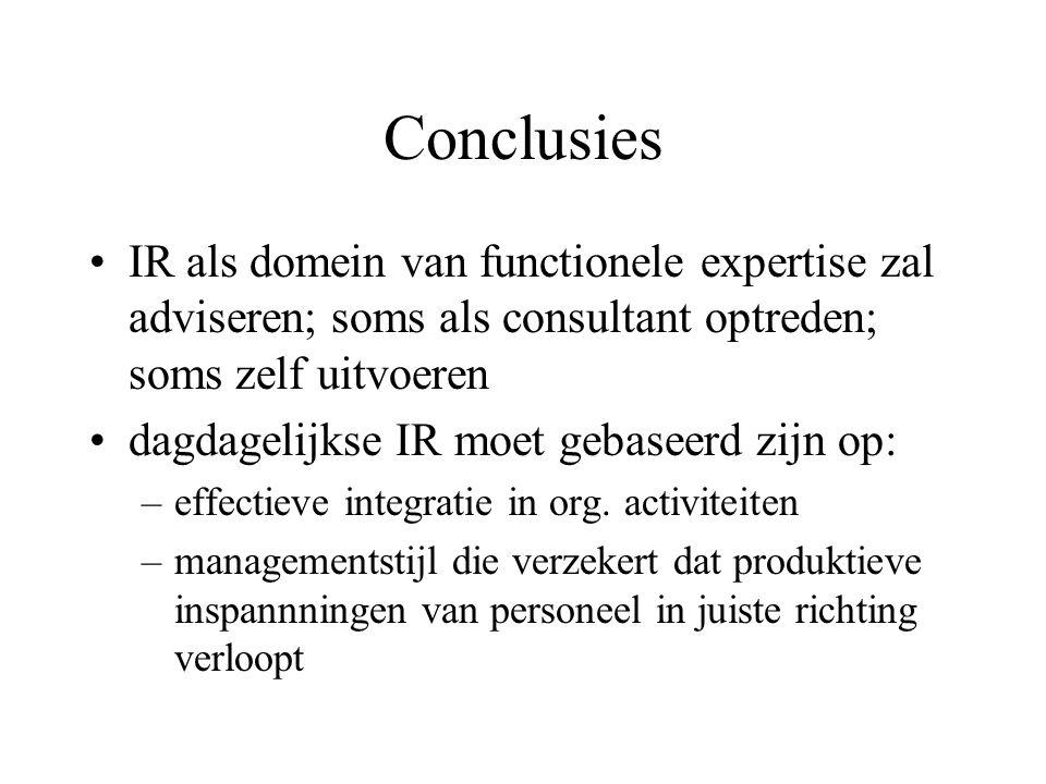 Conclusies IR als domein van functionele expertise zal adviseren; soms als consultant optreden; soms zelf uitvoeren dagdagelijkse IR moet gebaseerd zijn op: –effectieve integratie in org.