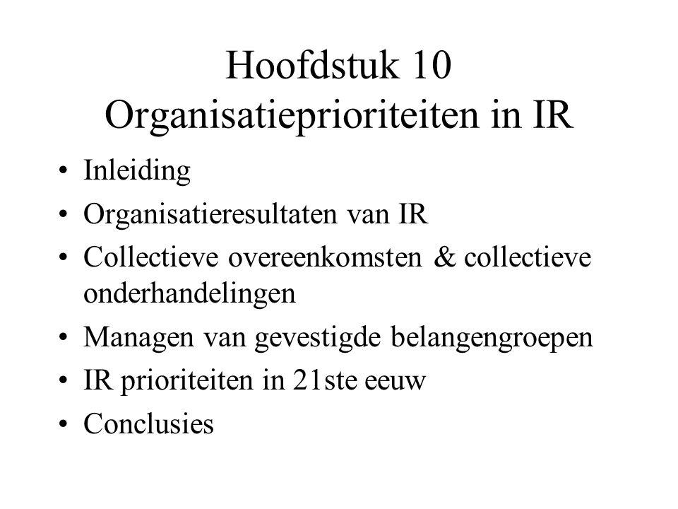 Inleiding IR = kern van strategisch, operationeel en functioneel management en levert (= of -) bijdragen tot totale organisatieprestatie (zie box 10.1.
