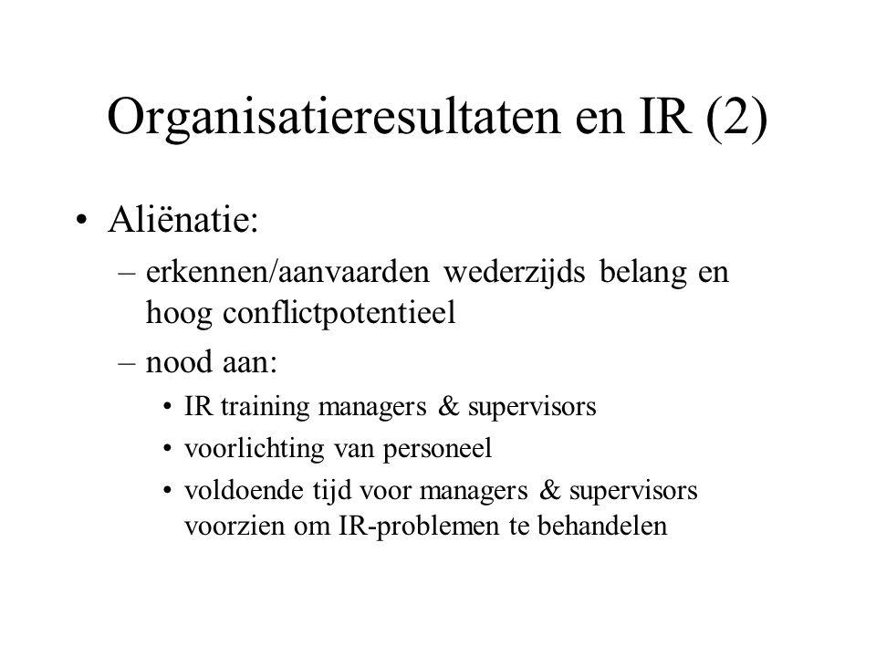 Organisatieresultaten en IR (2) Aliënatie: –erkennen/aanvaarden wederzijds belang en hoog conflictpotentieel –nood aan: IR training managers & supervisors voorlichting van personeel voldoende tijd voor managers & supervisors voorzien om IR-problemen te behandelen