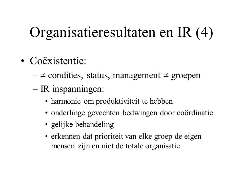 Organisatieresultaten en IR (4) Coëxistentie: –  condities, status, management  groepen –IR inspanningen: harmonie om produktiviteit te hebben onderlinge gevechten bedwingen door coördinatie gelijke behandeling erkennen dat prioriteit van elke groep de eigen mensen zijn en niet de totale organisatie