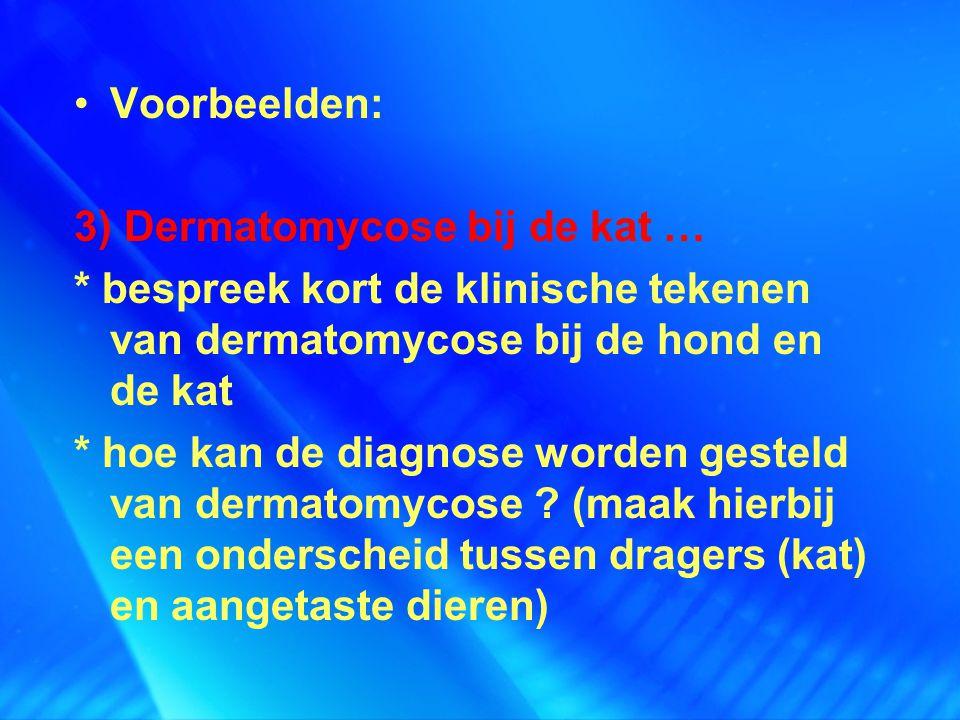 Voorbeelden: 3) Dermatomycose bij de kat … * bespreek kort de klinische tekenen van dermatomycose bij de hond en de kat * hoe kan de diagnose worden g