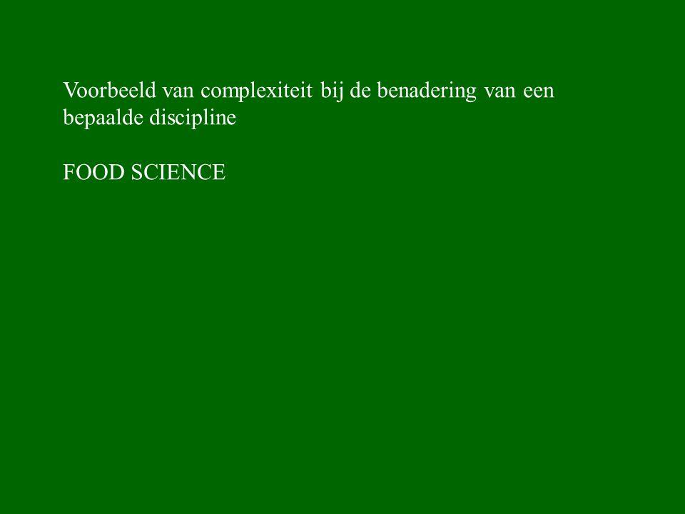 Voorbeeld van complexiteit bij de benadering van een bepaalde discipline FOOD SCIENCE