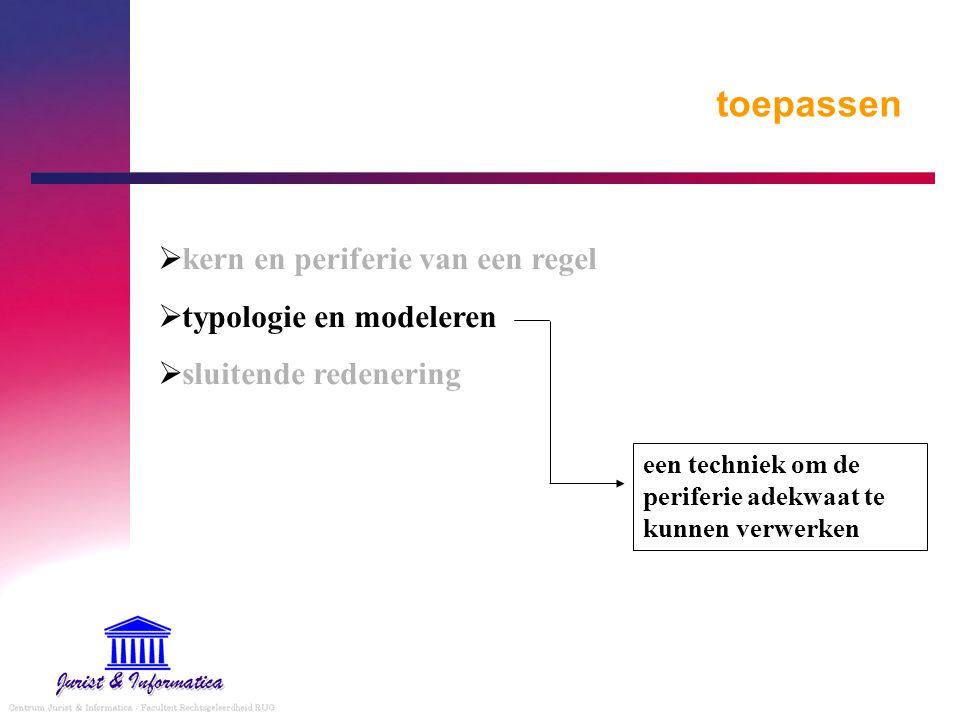 toepassen  kern en periferie van een regel  typologie en modeleren  sluitende redenering een techniek om de periferie adekwaat te kunnen verwerken
