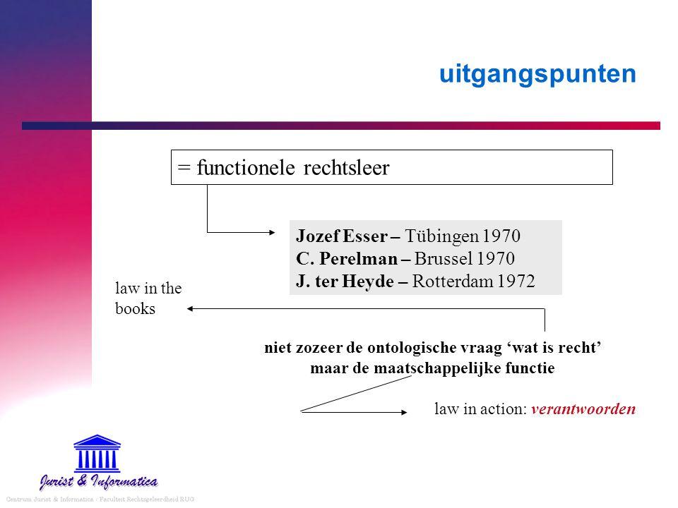 uitgangspunten = functionele rechtsleer Jozef Esser – Tübingen 1970 C.