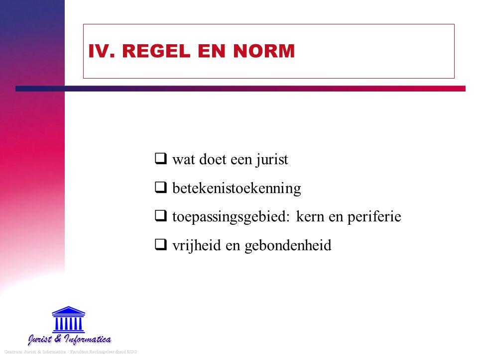IV. REGEL EN NORM  wat doet een jurist  betekenistoekenning  toepassingsgebied: kern en periferie  vrijheid en gebondenheid