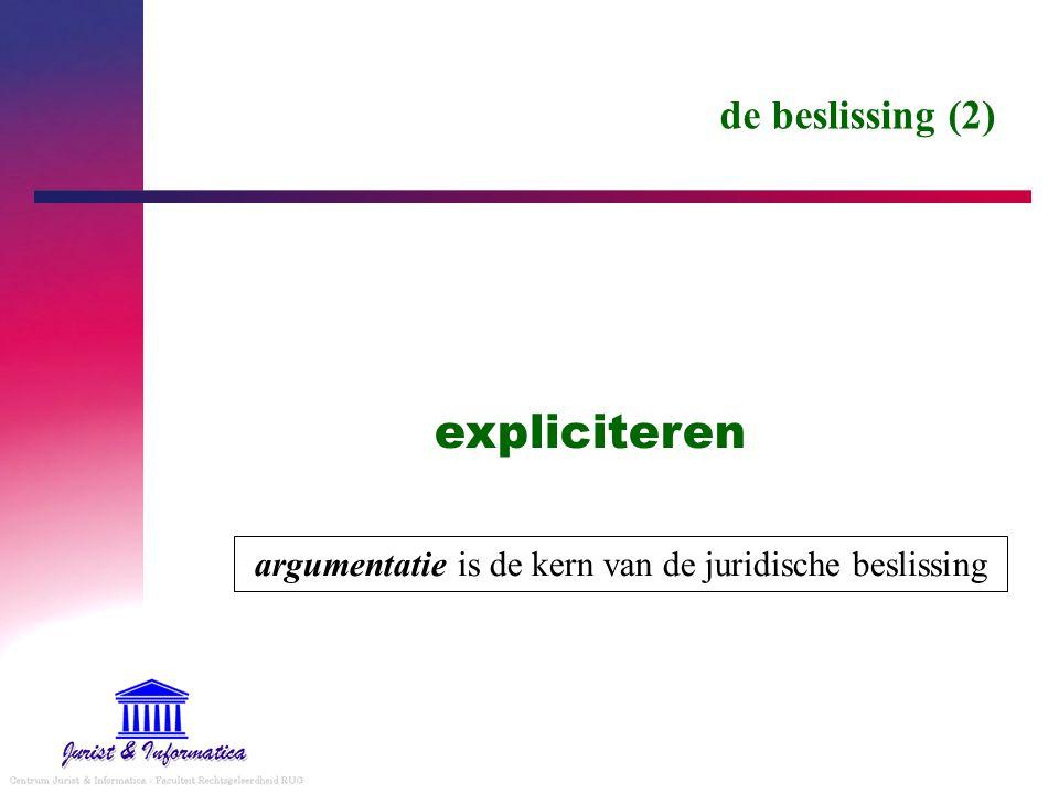 de beslissing (2) expliciteren argumentatie is de kern van de juridische beslissing