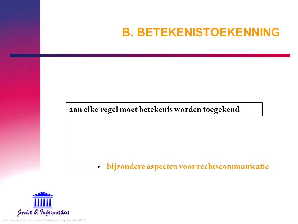 B. BETEKENISTOEKENNING aan elke regel moet betekenis worden toegekend bijzondere aspecten voor rechtscommunicatie