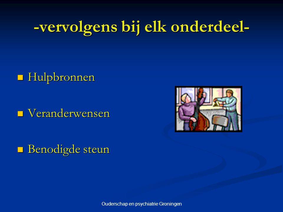 Ouderschap en psychiatrie Groningen -vervolgens bij elk onderdeel- Hulpbronnen Hulpbronnen Veranderwensen Veranderwensen Benodigde steun Benodigde ste