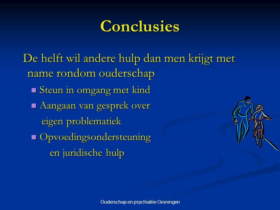 Ouderschap en psychiatrie Groningen Conclusies De helft wil andere hulp dan men krijgt met name rondom ouderschap De helft wil andere hulp dan men kri