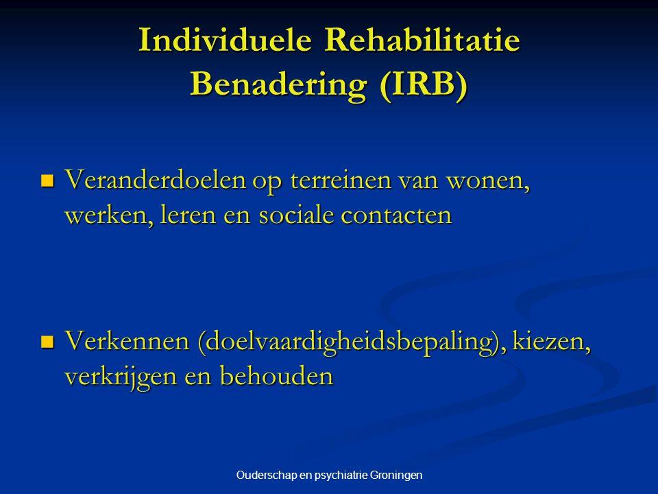 Ouderschap en psychiatrie Groningen Individuele Rehabilitatie Benadering (IRB) Veranderdoelen op terreinen van wonen, werken, leren en sociale contact