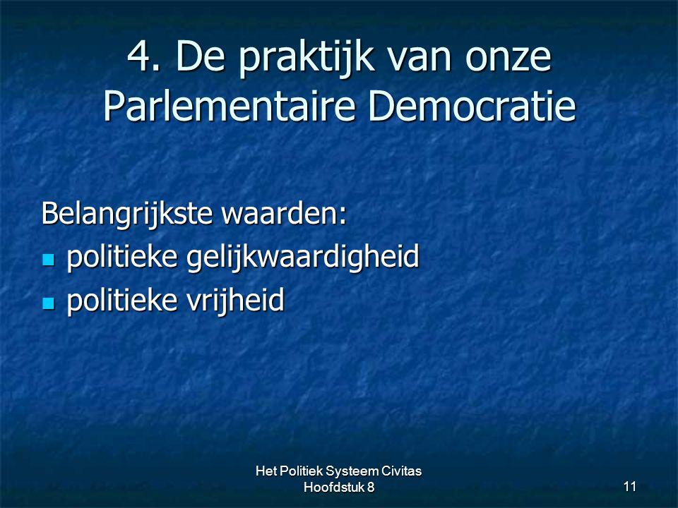 4. De praktijk van onze Parlementaire Democratie 11 Belangrijkste waarden: politieke gelijkwaardigheid politieke gelijkwaardigheid politieke vrijheid