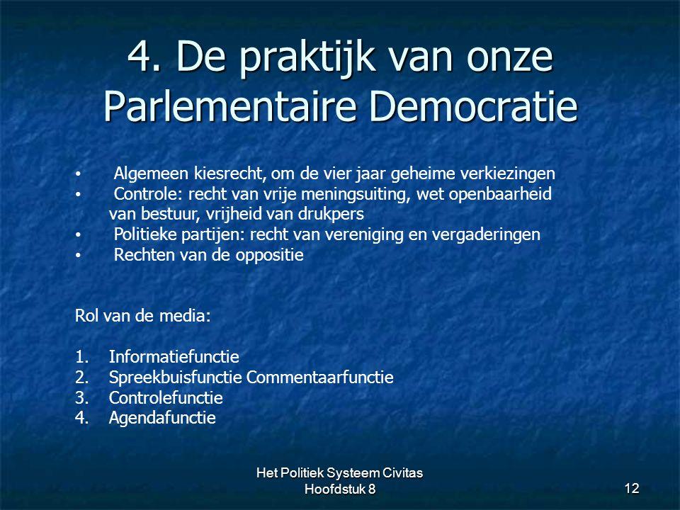 4. De praktijk van onze Parlementaire Democratie 12 Algemeen kiesrecht, om de vier jaar geheime verkiezingen Controle: recht van vrije meningsuiting,