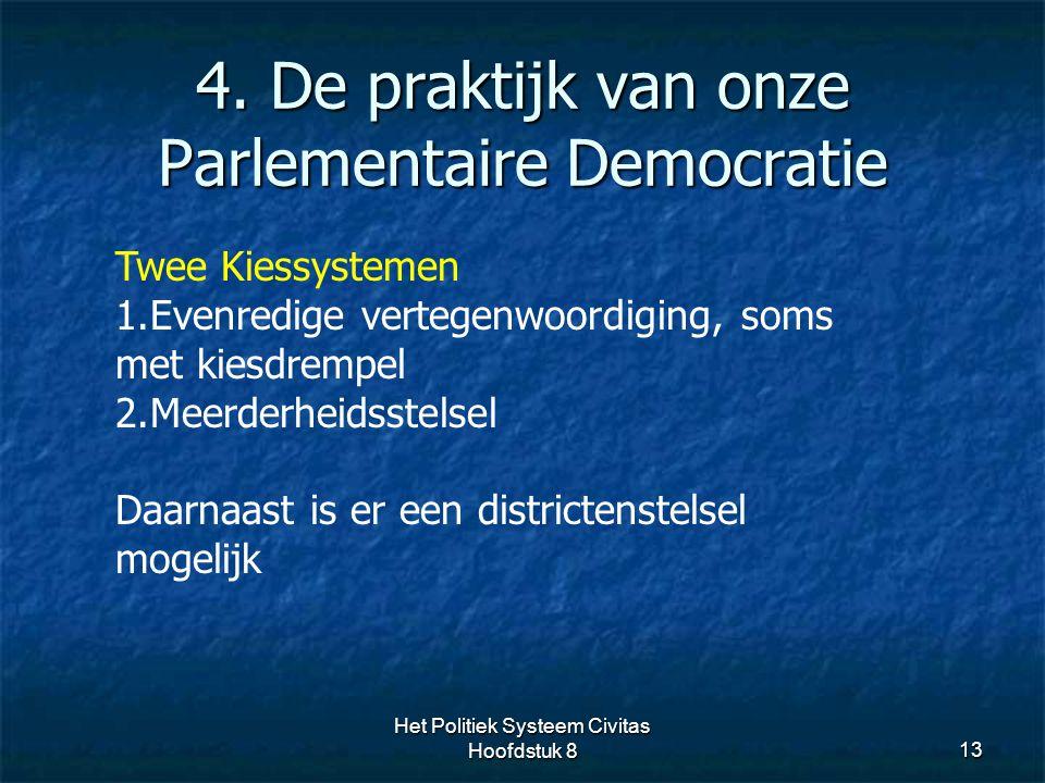 4. De praktijk van onze Parlementaire Democratie 13 Twee Kiessystemen 1.Evenredige vertegenwoordiging, soms met kiesdrempel 2.Meerderheidsstelsel Daar