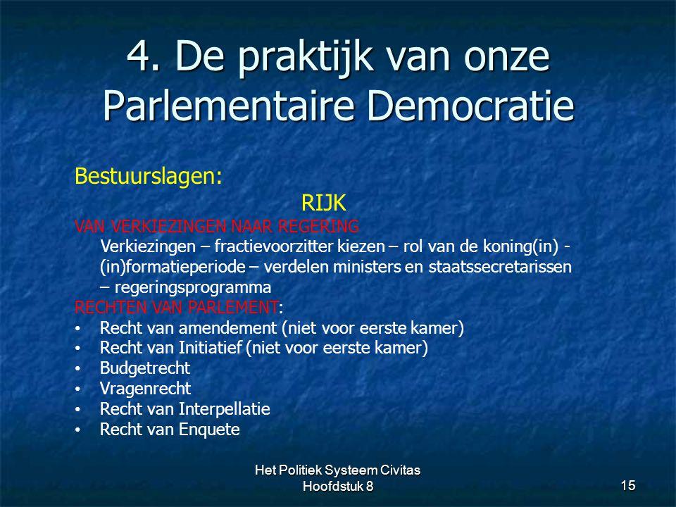 4. De praktijk van onze Parlementaire Democratie 15 Bestuurslagen: RIJK VAN VERKIEZINGEN NAAR REGERING Verkiezingen – fractievoorzitter kiezen – rol v