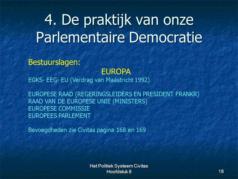4. De praktijk van onze Parlementaire Democratie 18 Bestuurslagen: EUROPA EGKS- EEG- EU (Verdrag van Maastricht 1992) EUROPESE RAAD (REGERINGSLEIDERS