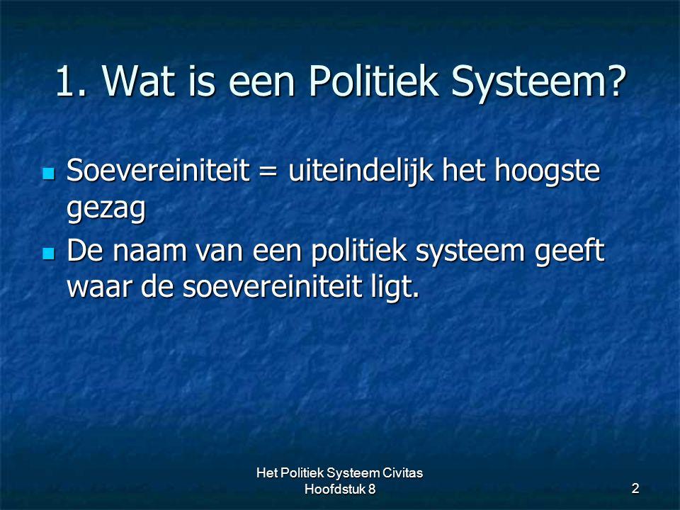 1. Wat is een Politiek Systeem? 2 Soevereiniteit = uiteindelijk het hoogste gezag Soevereiniteit = uiteindelijk het hoogste gezag De naam van een poli