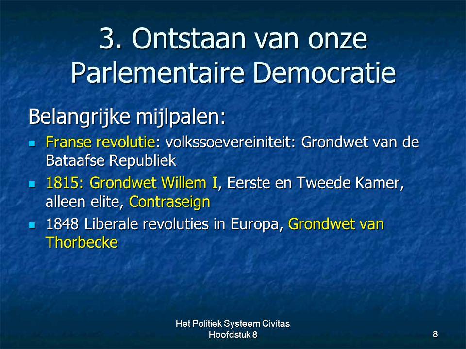 3. Ontstaan van onze Parlementaire Democratie 8 Belangrijke mijlpalen: Franse revolutie: volkssoevereiniteit: Grondwet van de Bataafse Republiek Frans
